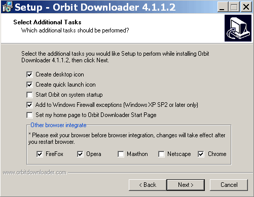 Выбор браузеров при установке Orbit Downloader
